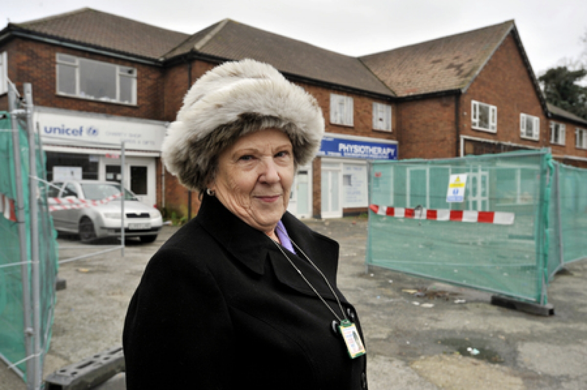 Eyesore – councillor Wendy Goodwin looks at the site in Benfleet High Road which has been left empty