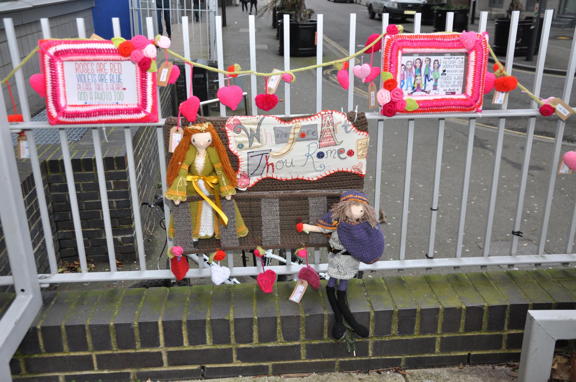 We do love a good yarn! Knitting ninjas create romantic Valentine's scene outside Southend college
