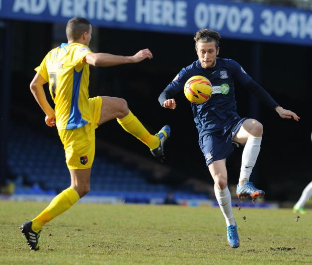 Ben Coker on the ball for Southend United