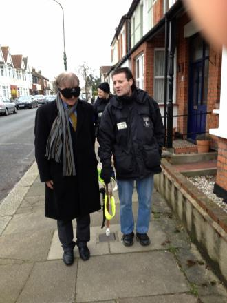 David Amess being led through Leigh by Guide Dogs for the Blind mobility instructor Norman McIver