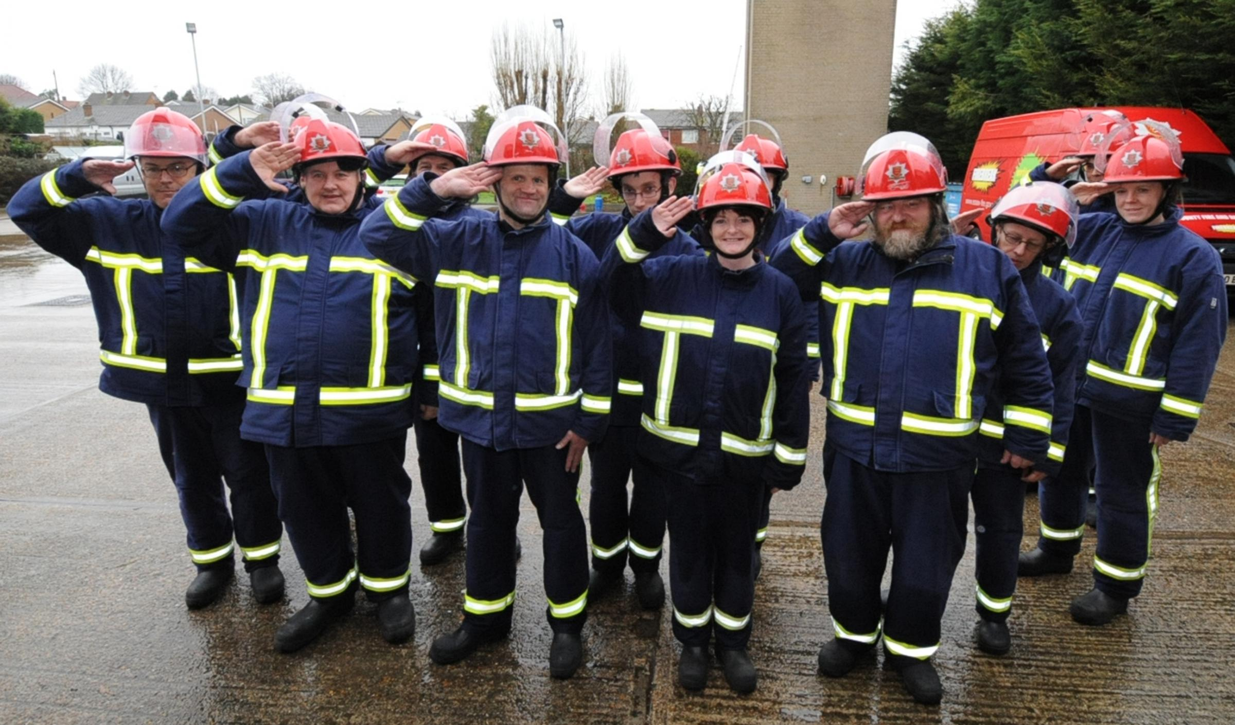 Reporting for duty - the Firebreak crew on parade at Hawkwell