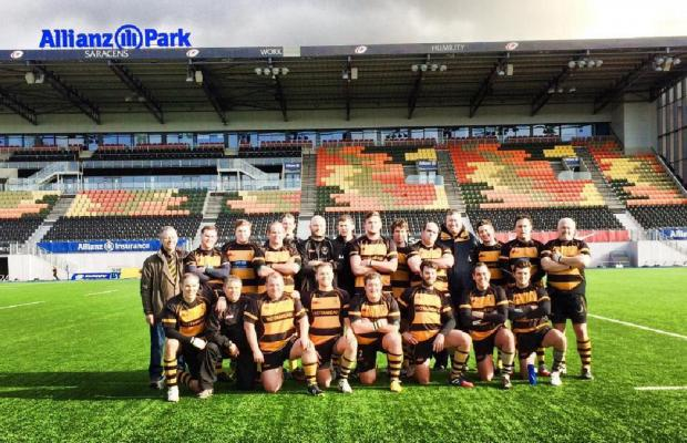 n Winning ways — the Billericay Rugby Club team on the pitch at Saracens' Allianz Park home before their quarter-final match