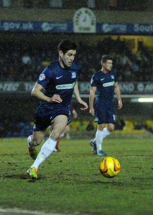 Michael Timlin on the ball for Blues against Hartlepool United
