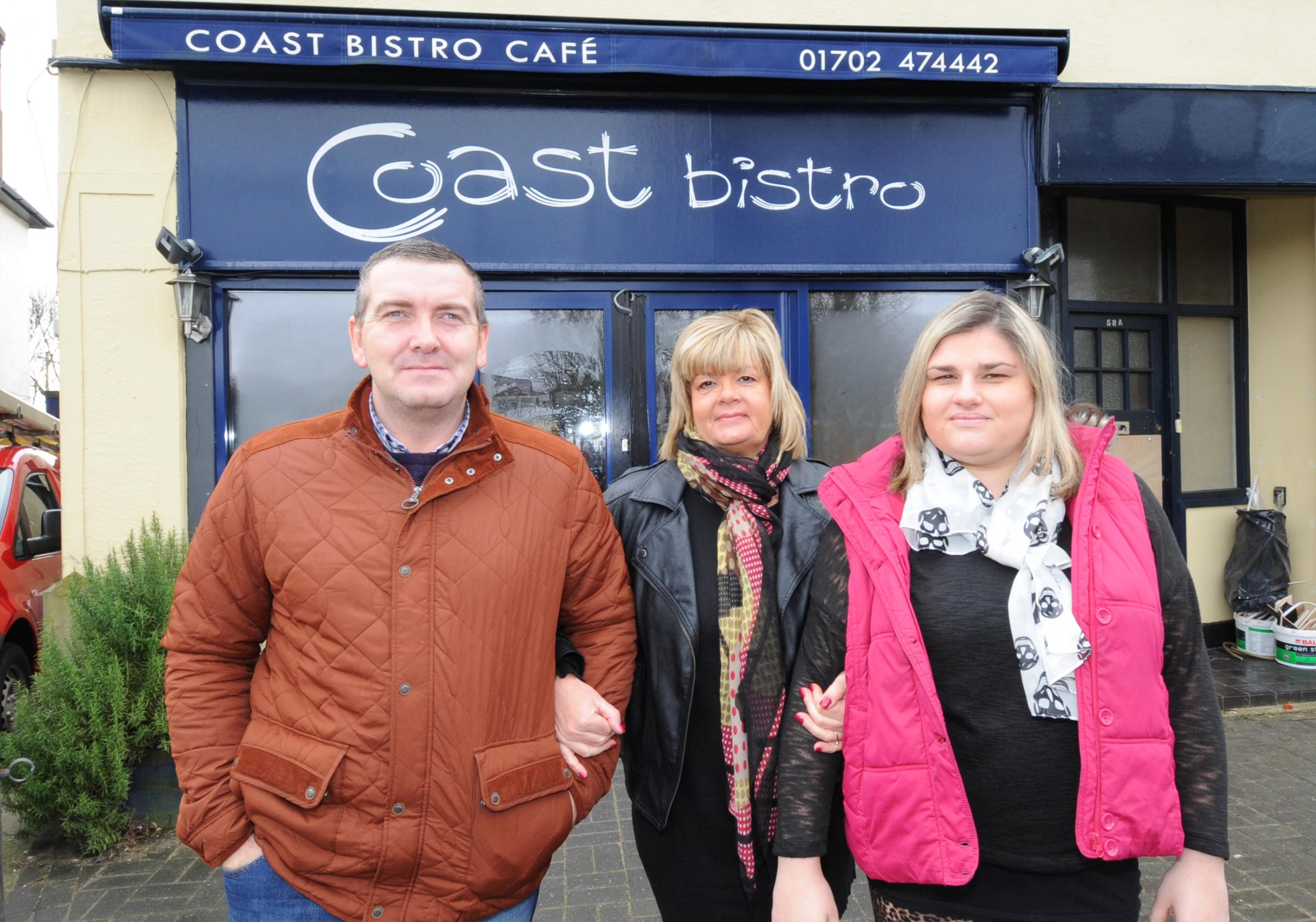 Uphill battle – Coast Bistro owners Darren Payne and Sue Goodman, with Sue's daughter Jo Goodman