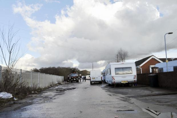 Travellers living illegally in Oak Lane, Crays Hill