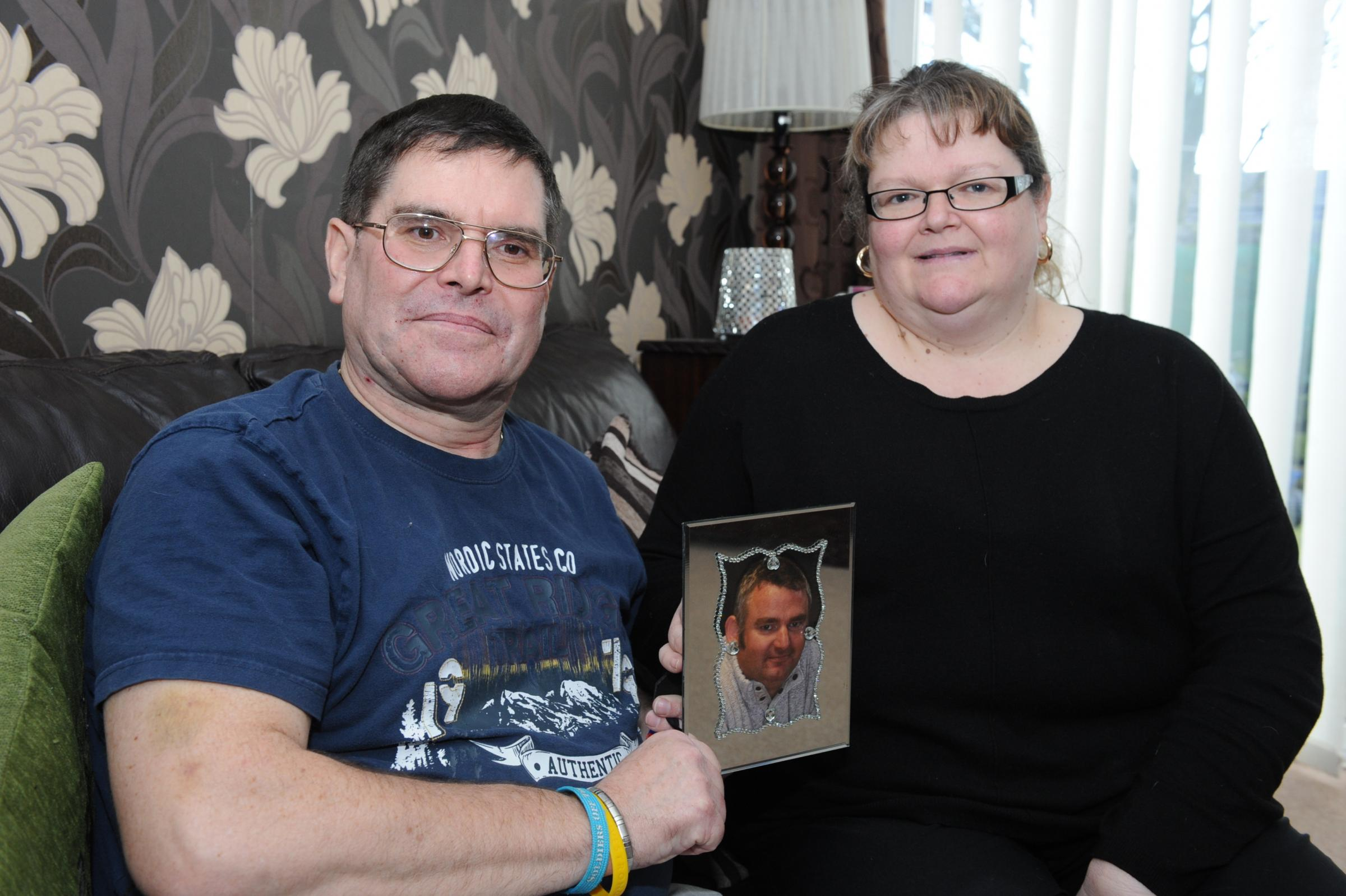 Fundraising plan – family friend Malcolm Wheeler with Carol Macvicar, whose brother Jamie died last year from leukaemia