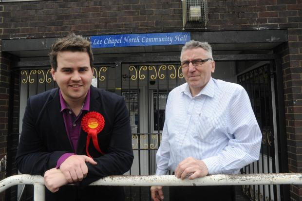 Gavin Callaghan - labour candidate talking to John McKay about the food bank.