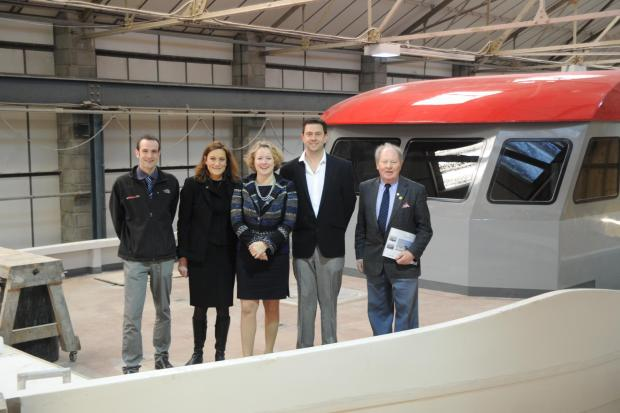 All aboard – sales and marketing director Edward Tuite, MP Rebecca Harris, MEP Vicky Ford, design manager Stuart Davidsen and Ray Howard