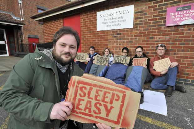 Rough sleepers – co-ordinator TomMoulton in front of volunteers Daniel Ford, David Trayner, David Cheung, Philip Jones and John Levy