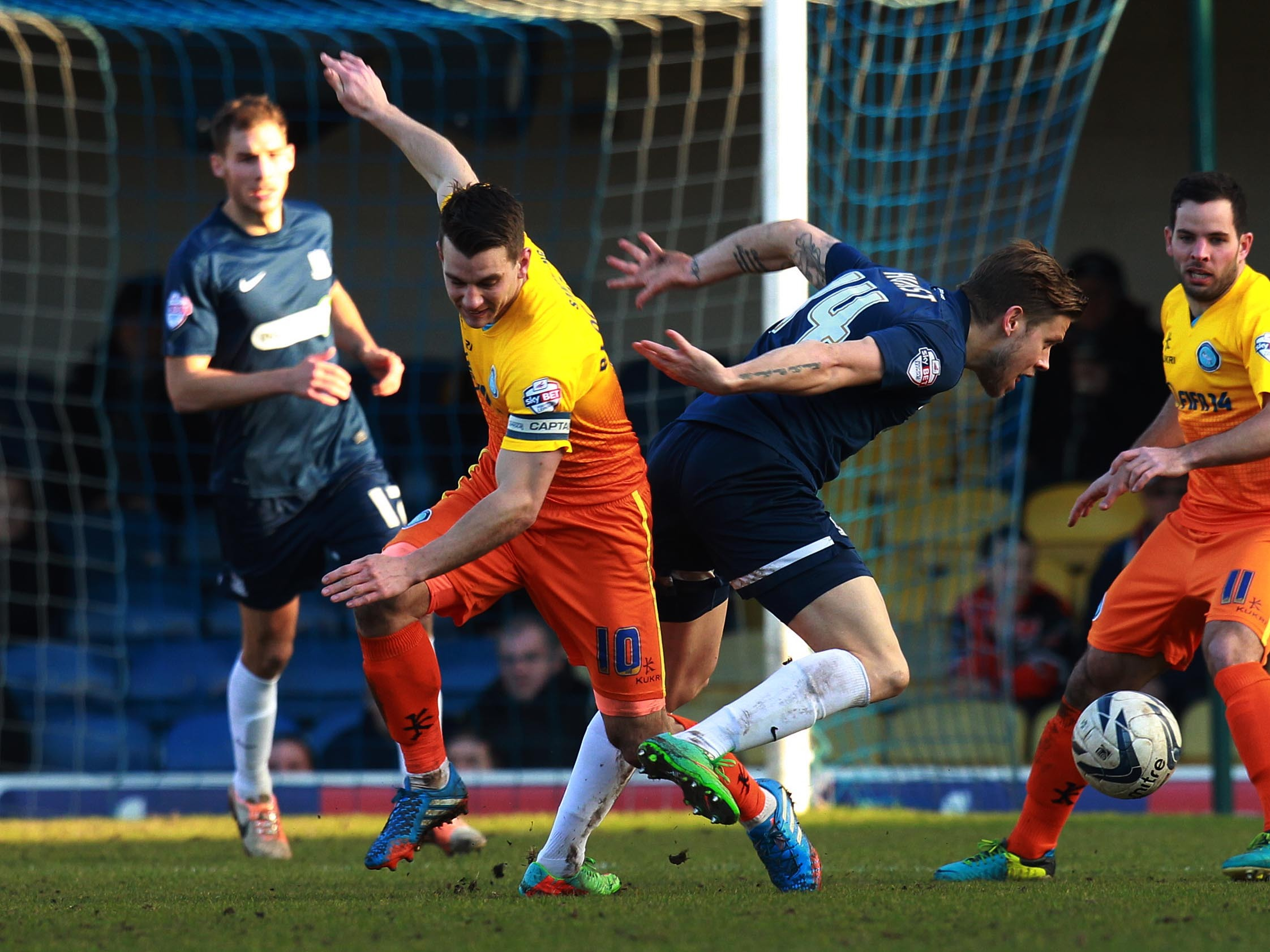 Kevan Hurst goes forward against Wycombe Wanderers