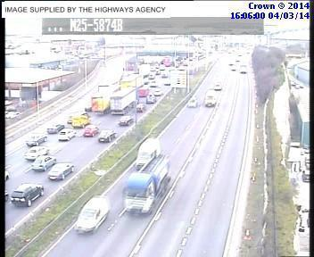 Slow traffic on the M25 approaching the QEII Bridge
