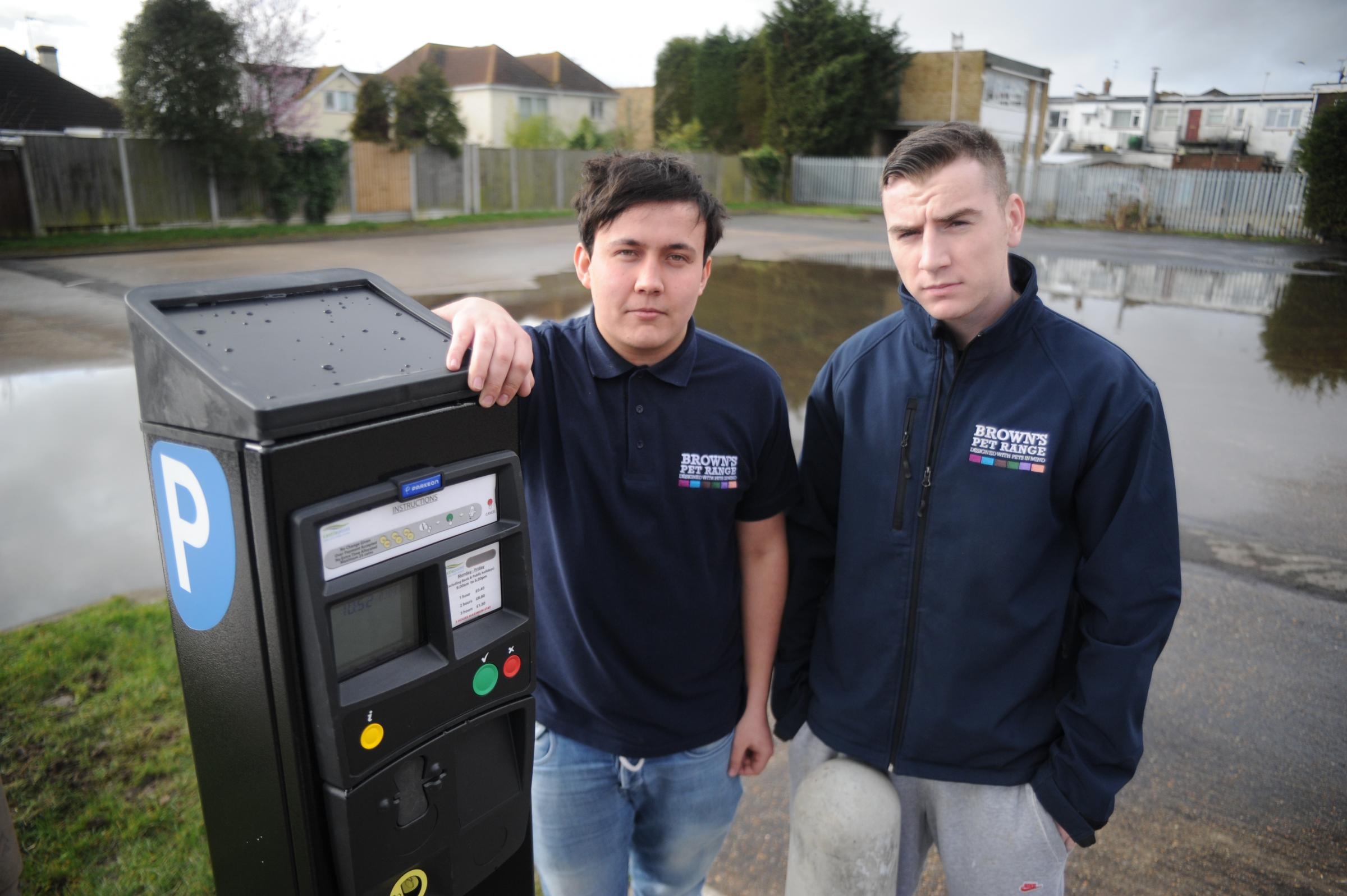 David Rayne and Ben Brown of the Discount Pet Superstore on Canvey, angry at the new parking charges