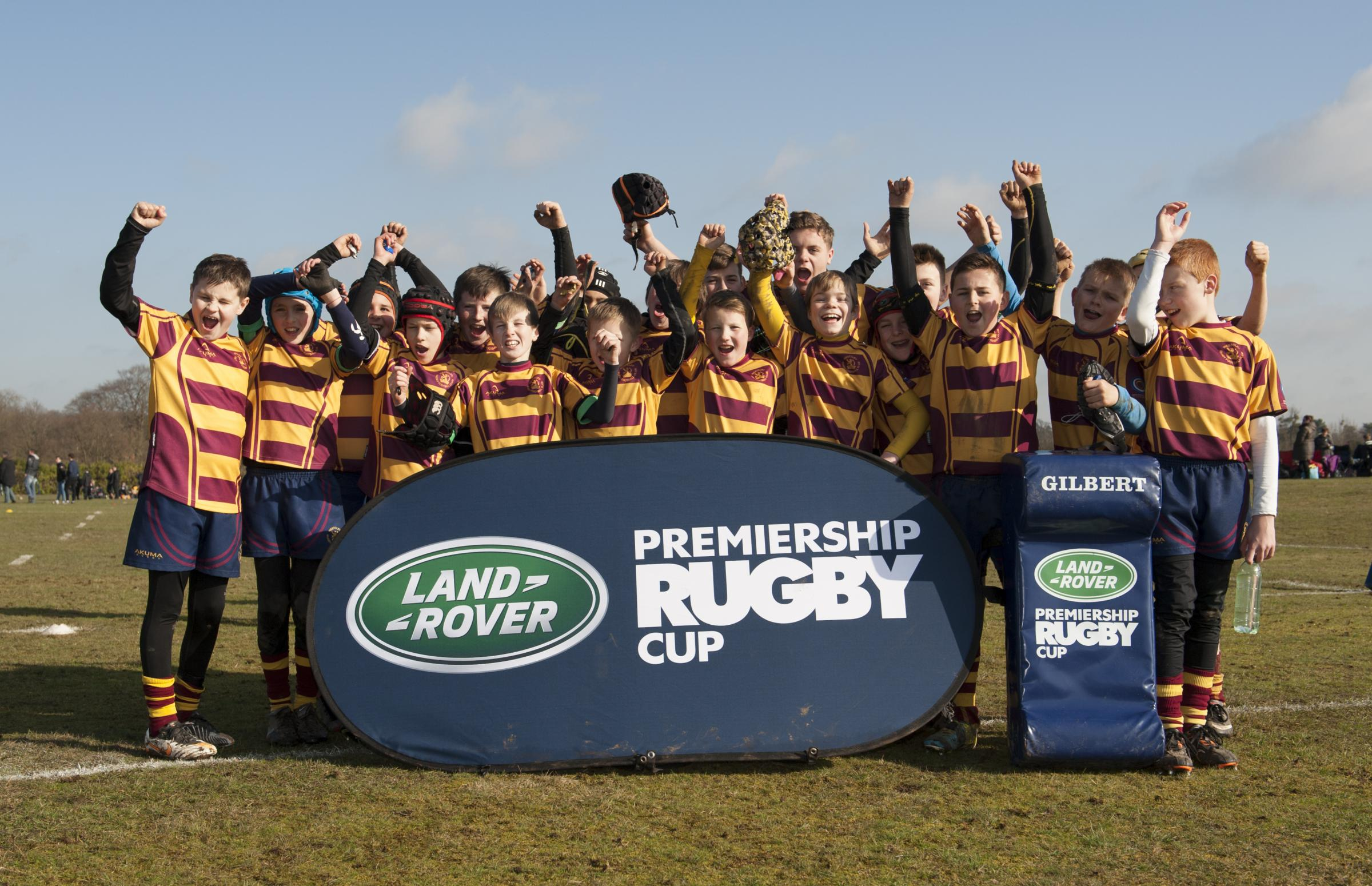 All smiles – the Westcliff under-12s team at Farnham Royal in the Land Rover Premiership Cup