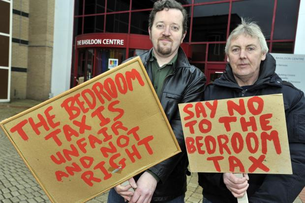Echo: Dave Murray, founder of Basildon Residents Against Bedroom tax and Tony Livesey campaigning outside the Basildon Centre