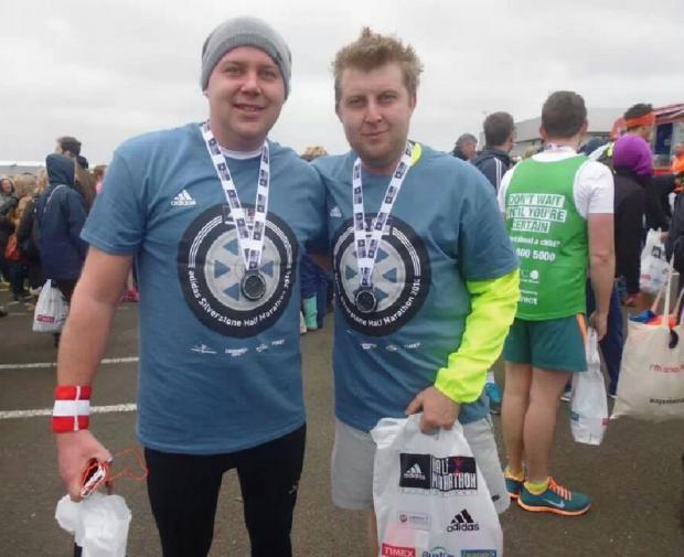 Running mates – Matthew and Frank after they finished the half marathon in aid of Little Havens.