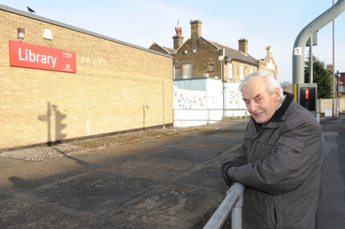 Blocked off – Roy Brackin by the hoardings which prevent the public using what the county council has ruled to be a public right of way