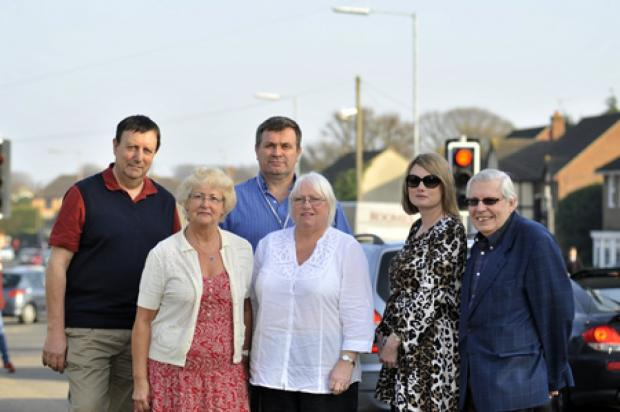 Lights call – councillors Norman Ladzrie, Peter Burch and Simon Hart with Pat Haunts, Jay Blissett and Denise Lambert