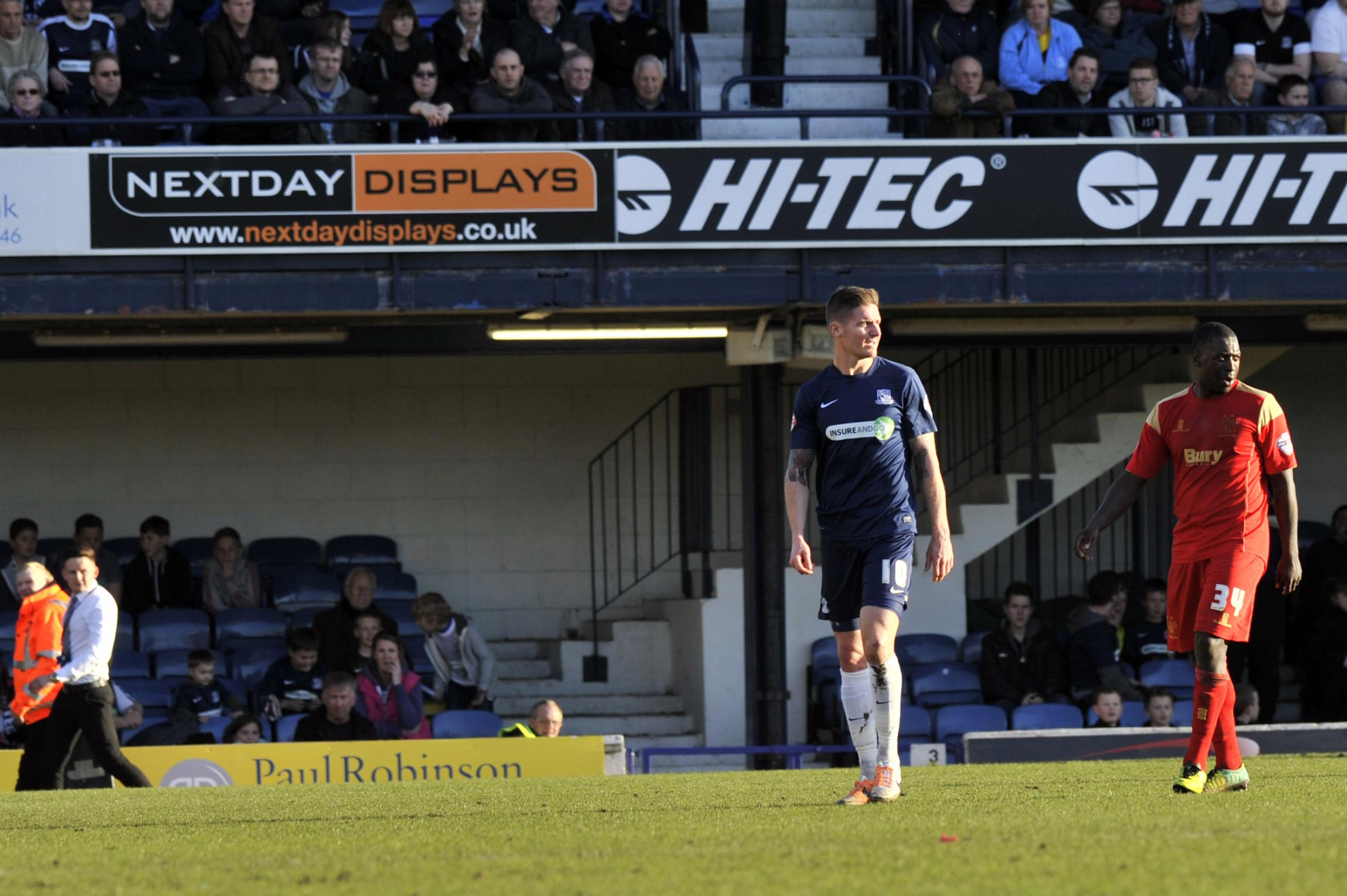 Barry Corr trudges off after being shown a red card against Bury