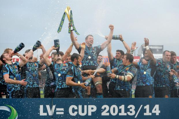 Exeter Chiefs celebrate winning the LV=Cup