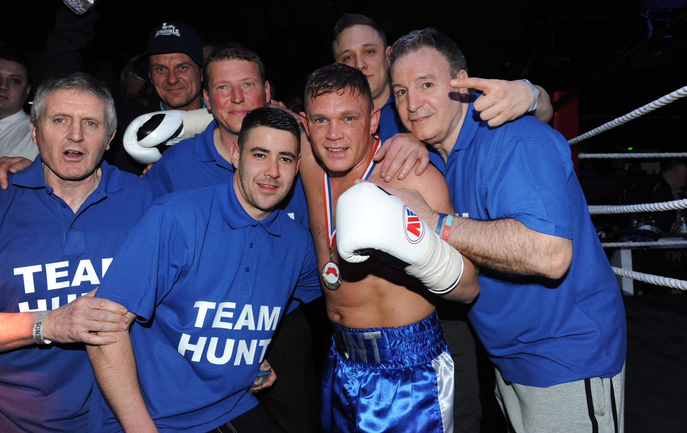 Winning ways — Danny Hunt with his cornermen after his comeback victory