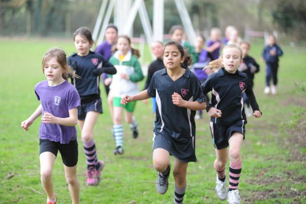 Breaking away — a group of runners get away from the pack in the Year 5 girls' race