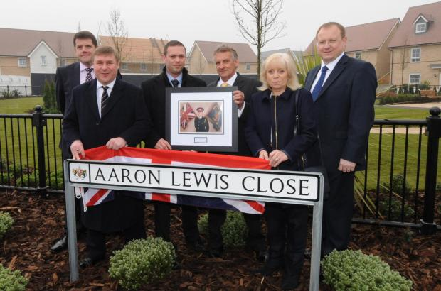 Tribute - Jason Culmer, Mark Francois MP, Brett Lewis, Barry Lewis, Helen Lewis and David Wilson Homes MD David Eardley