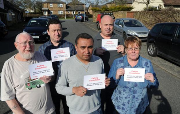 Frustrated – Ken Rose, Aidan McGurran, David Burton-Sampson, Alan Biggs and Paula Biggs in Church Park Road, Pitsea