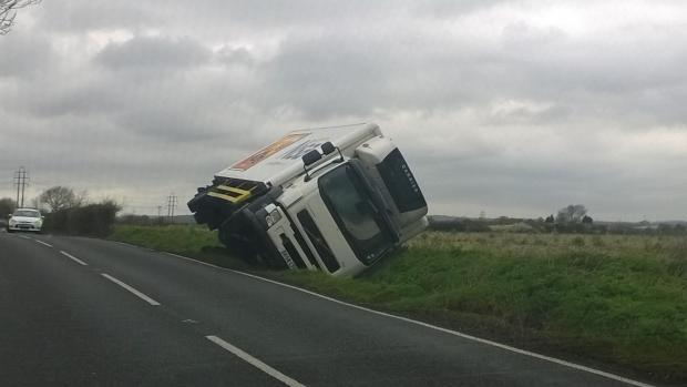 Lorry in ditch in Rochford