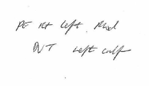 """Last minute: An extract of Dr Konrad Wolfe's note states """"DVT left"""