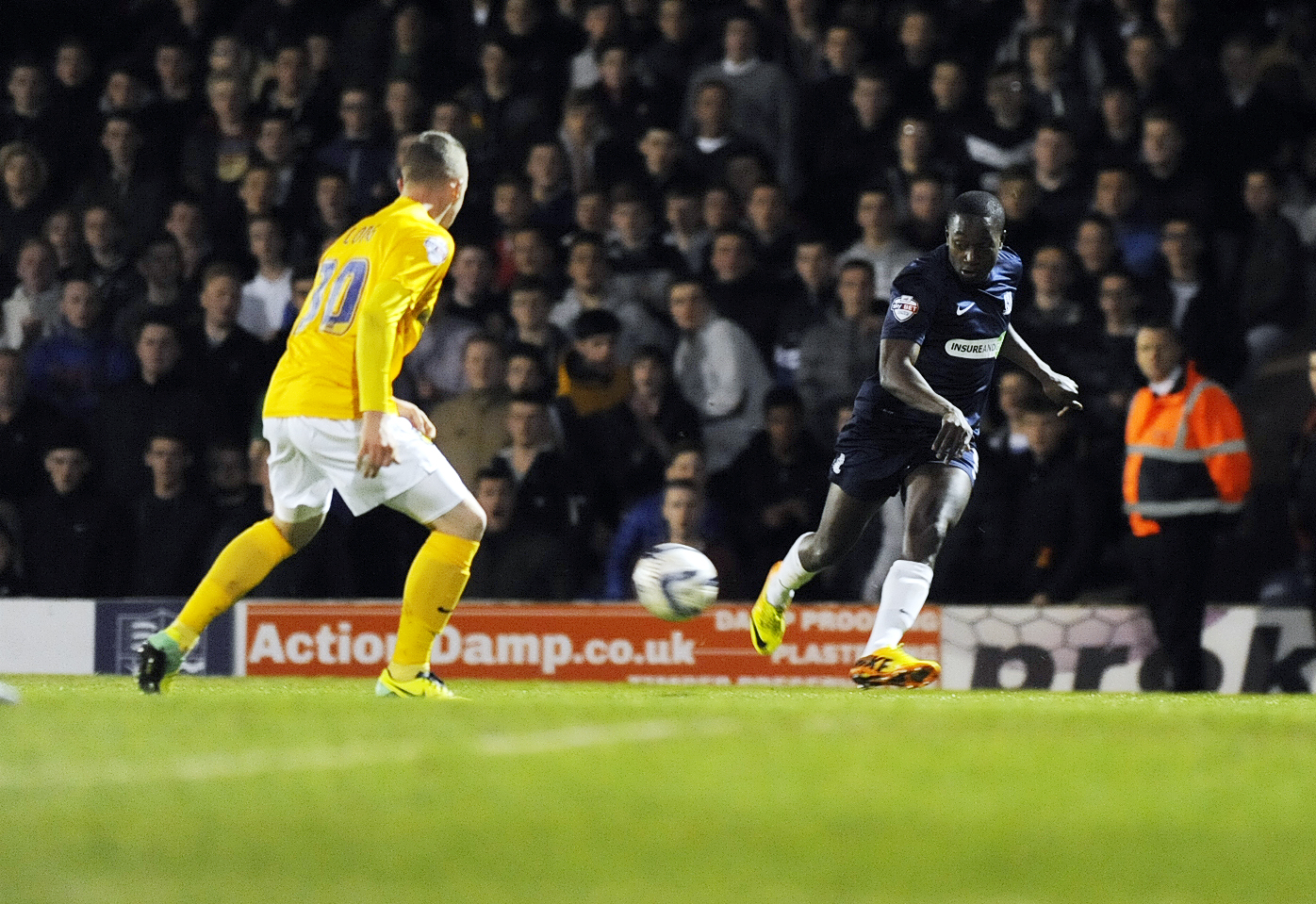 Jamar Loza crosses the ball during his impressive display against Oxford