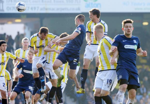 John White sent this header against the crossbar during Southend United's 1-0 win against Torquay