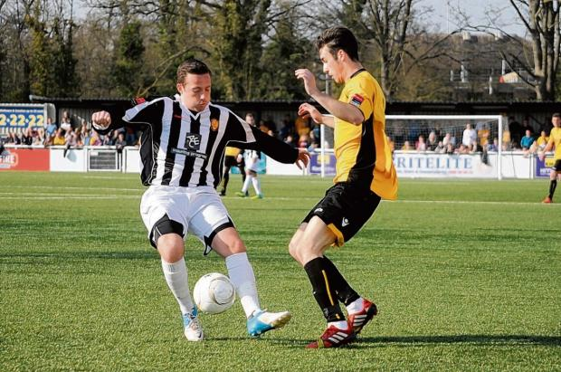 East Thurrock's Sam Lechmere in action against Maidstone on Saturday