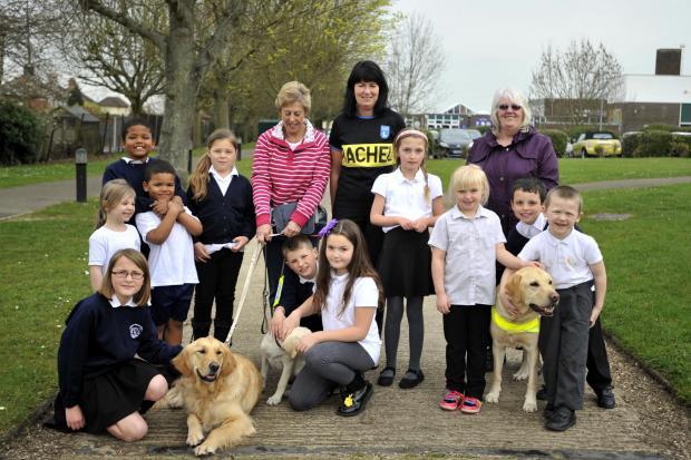 Echo: Special help – Rachel Welch with Chris Dunn, pupils, guide dogs and supporters