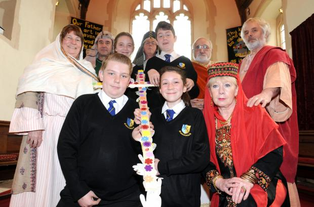 Easter lesson – James Hornsby School pupils Alex Einchcomb, Trinity Byatt, Marnie Booker and Joe Cox, with congregation members in costume