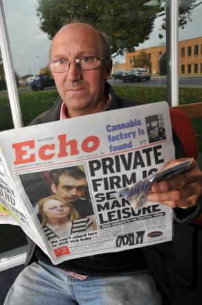 Peter Smith with a copy of the Echo