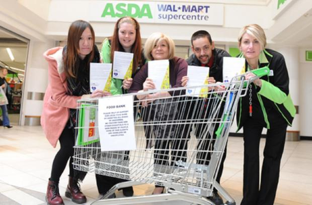Got to give – Kary Lei, Demi Tatham, Susanna Caira-Neeson, Ben D'Mellow and Paula Howard at Asda in the Eastgate shopping centre, Basildon