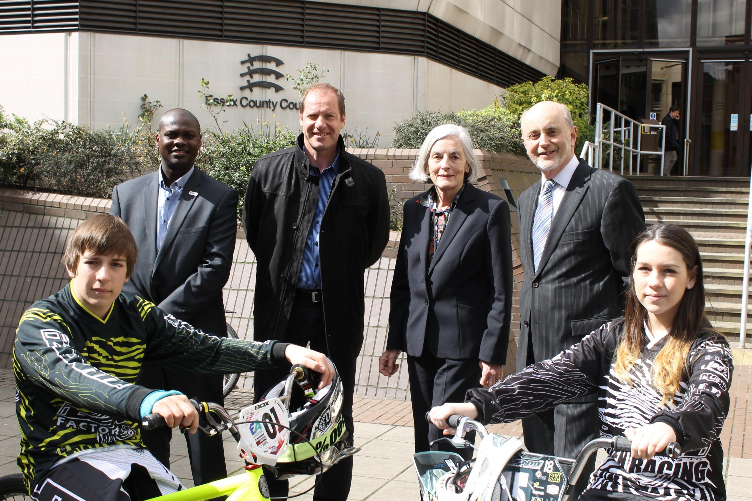 Back row L-R: Jason Fergus, Christian Prudhomme, Cllr Ann Naylor, Cllr Ray Gooding. Front row: Shane and Lana Redgewell