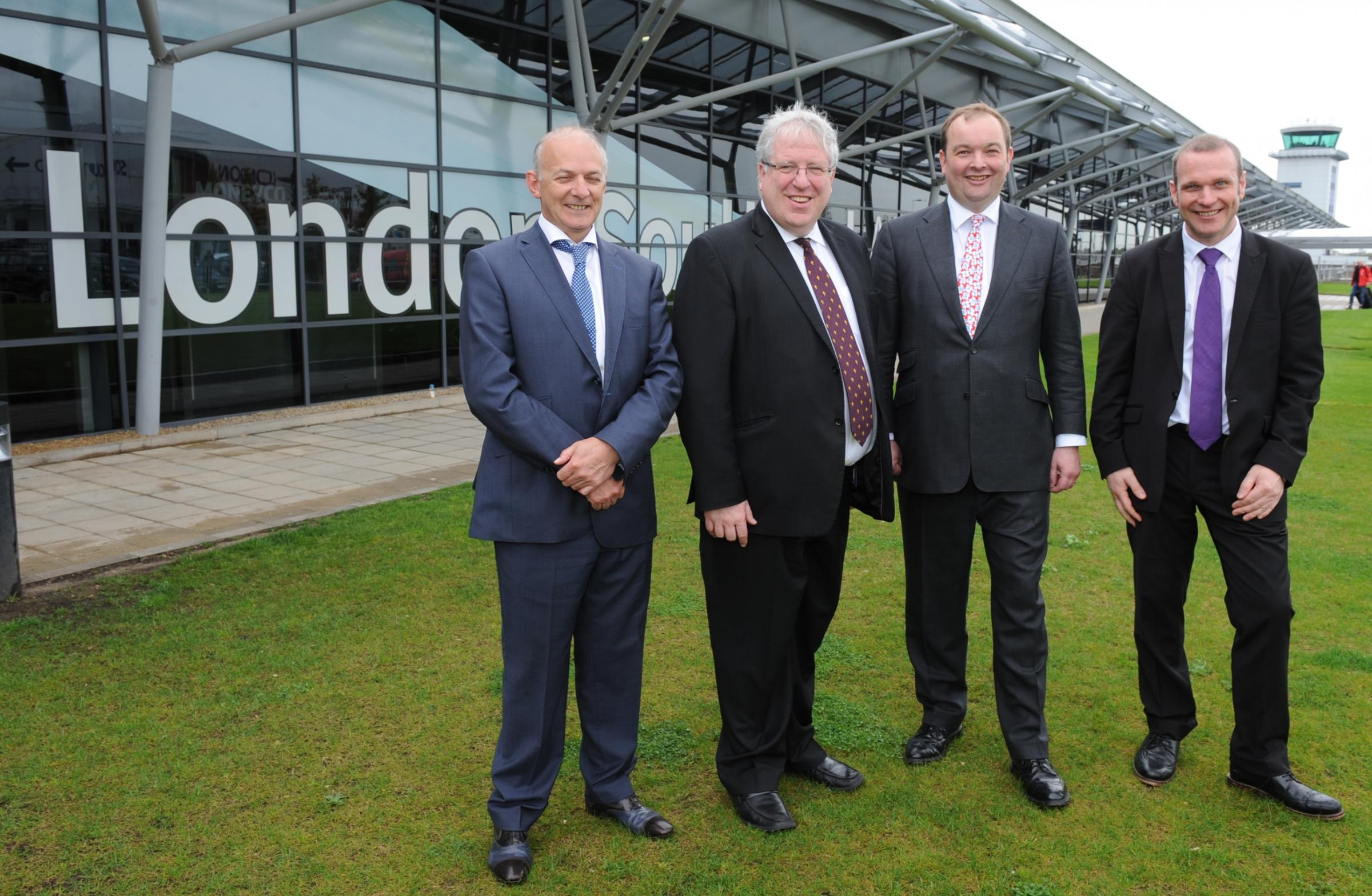 Stobart Air boss Andrew Tinkler, Transport Secretary Patrick McLoughlin, Rochford and Southend East MP James Duddridge and David Lister, the airport's operations director