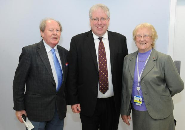 Step forward – Secretary of State for Transport Patrick McLoughlin, centre, with Ray Howard, and Pam Challis