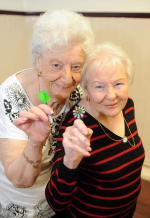 Double take – Joan Dawson, 88, and Joan Burrows, 91, prove age is no barrier to success as they have just won the doubles final of a female darts league on Canvey