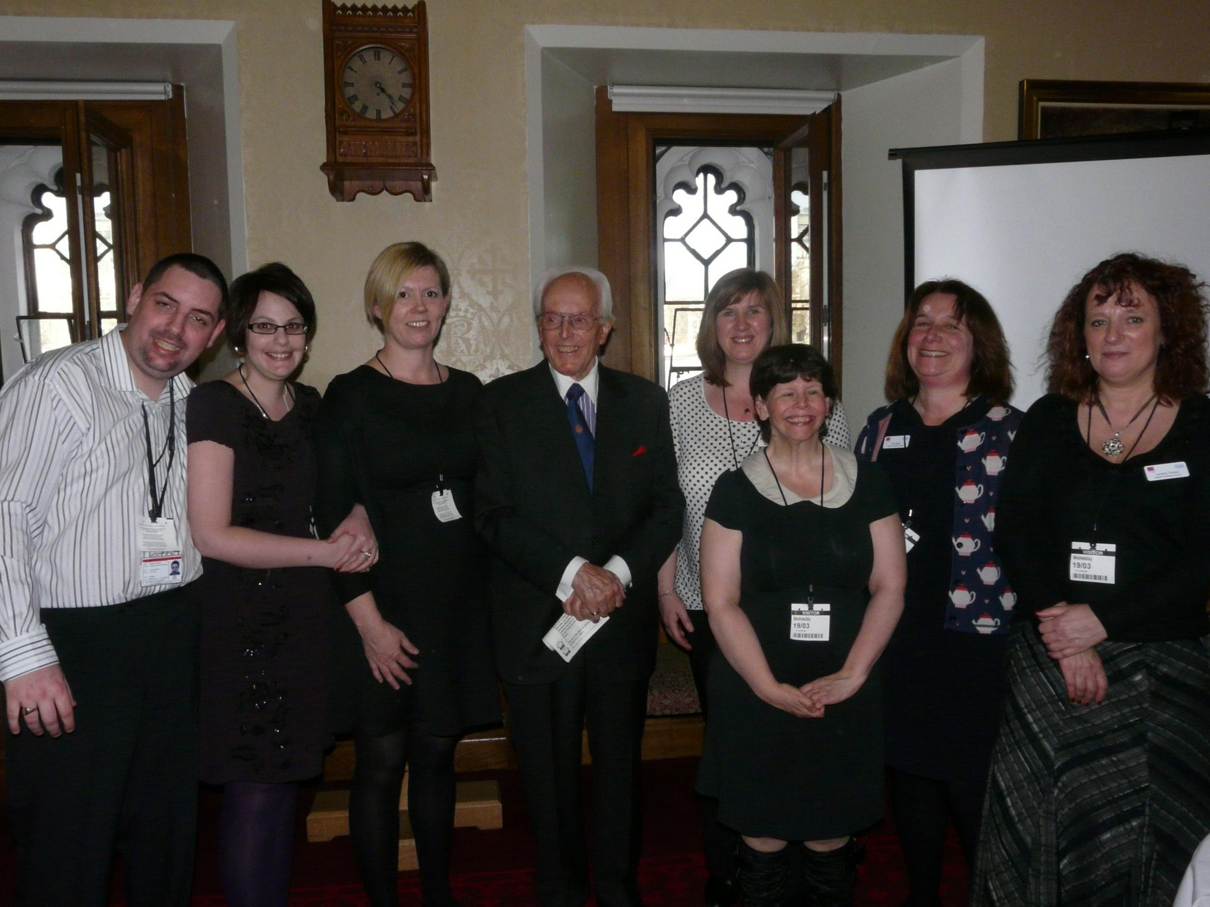 Dedicated - Southend Hospital's learning disabilities comittee members with Lord Rix, centre, and nurse Sarah Haines, thirdf rom left