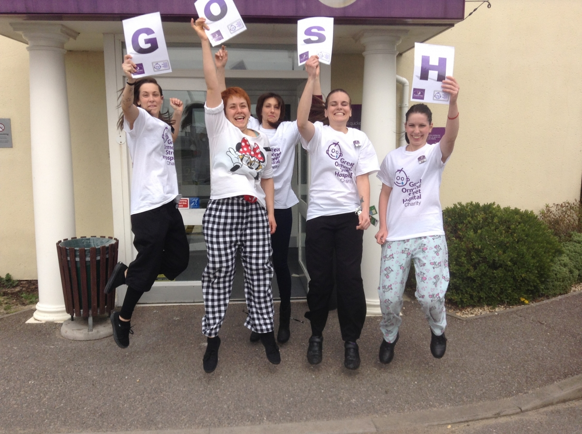 Jumping to it – staff at the Thorpe Bay Premier Inn celebrate their fundraisin