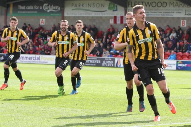 Barry Corr celebrates his goal against Fleetwood Town