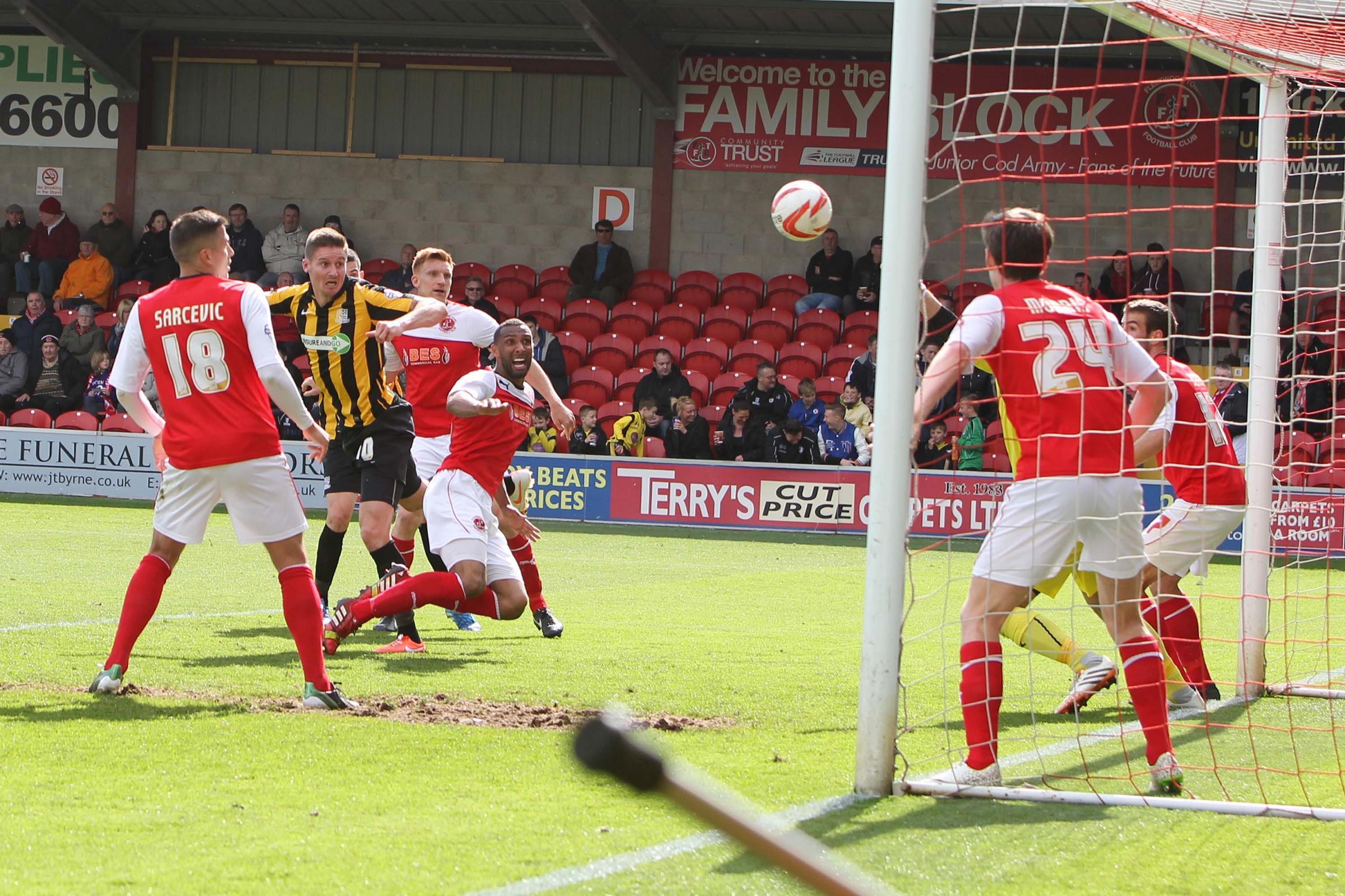 Barry Corr heads home against Fleetwood Town, but Michael Timlin felt Blues should have taken all three points