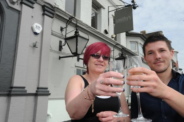 Cheers! Landlady Tracey and landlord Chris White