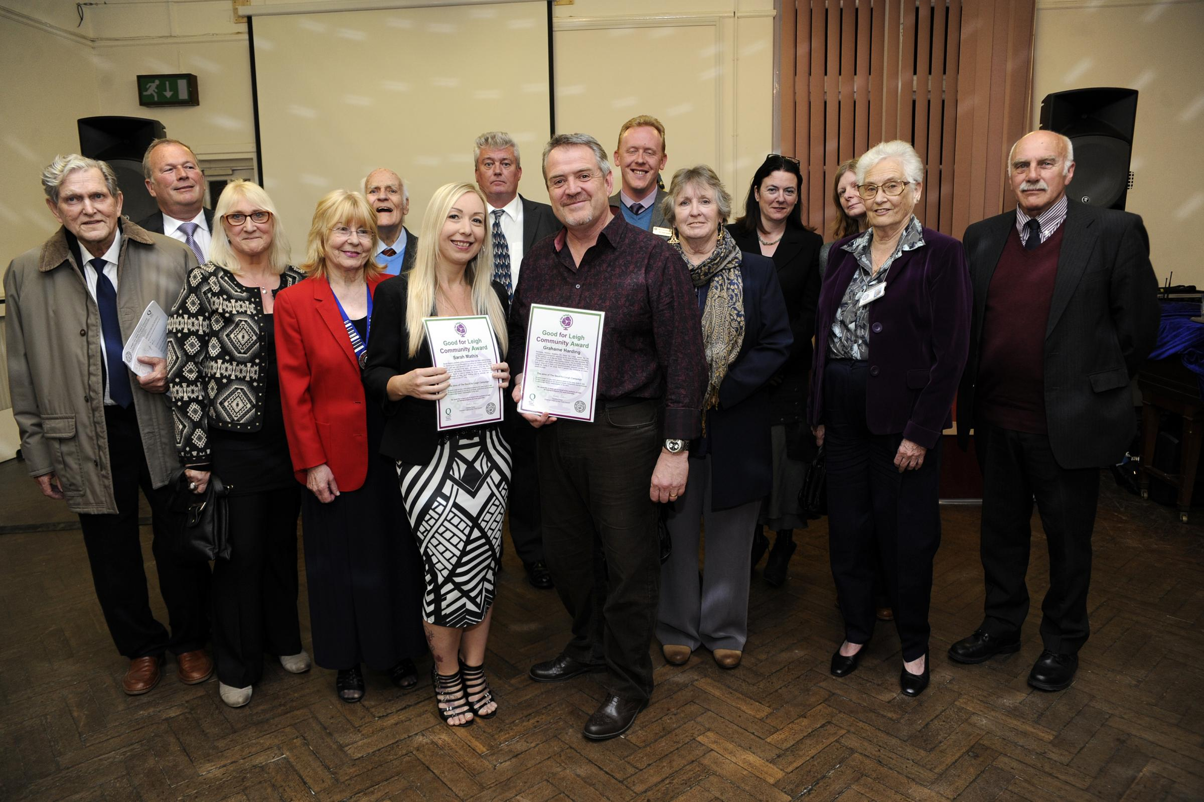 L-R centre is Award winners Sarah Mathis and Grahame Harding with leigh town council. Leigh community centre, Elm Road, Leigh.