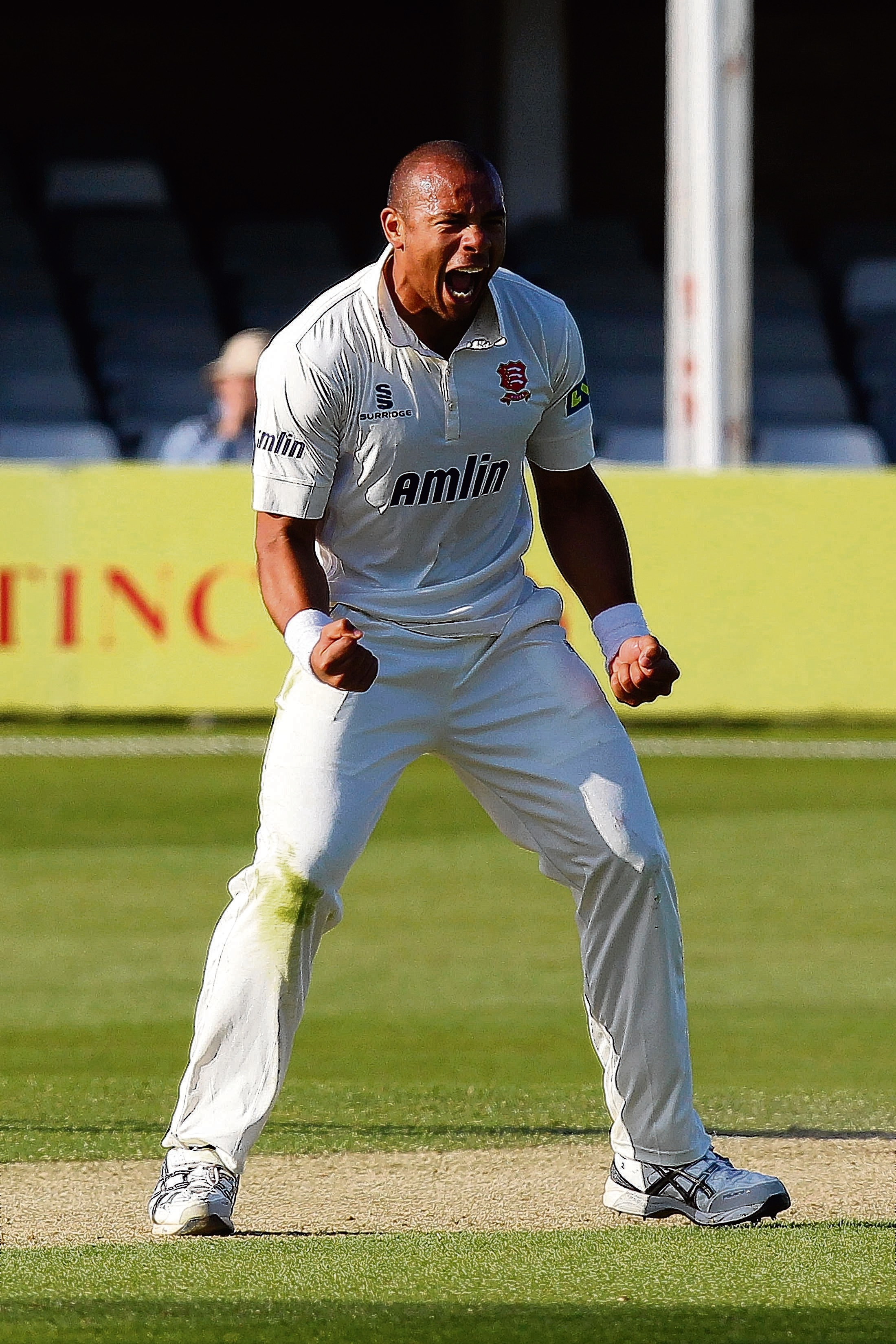 Delight — for Tymal Mills who bowled Michael Klinger early on on in Gloucestershire's second inni