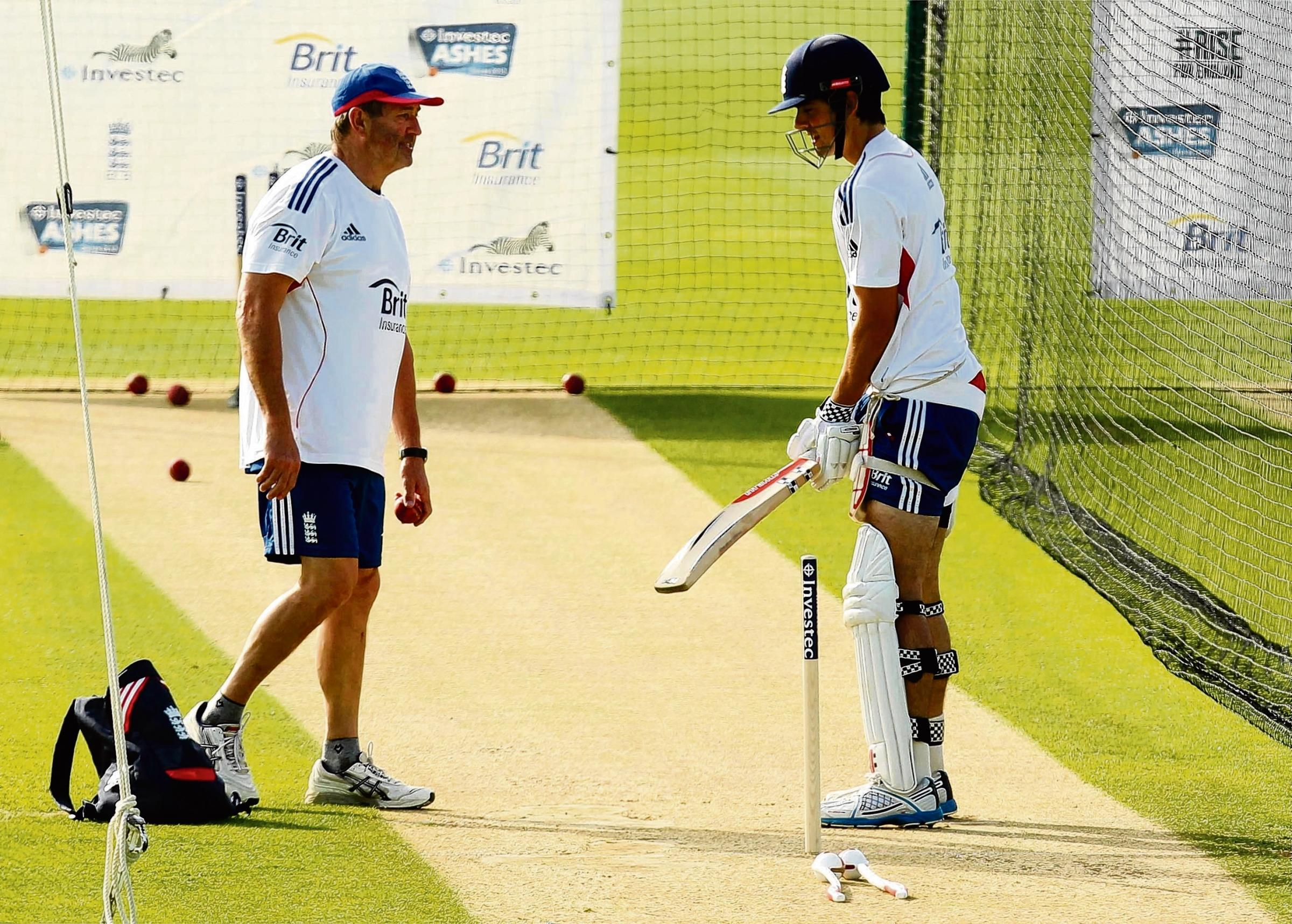 Graham Gooch working with Alastair Cook in the nets in Australia