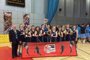 Champions – the Southend Swifts under-16 girls team lift the title