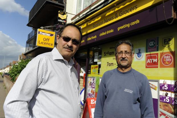 Station News owner Harish Panchal and staff member Jack Raj